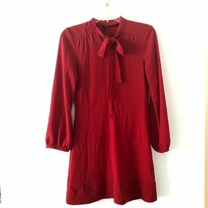 NWT Red Zara Woman Dress with Pussy Bowtie Size XS